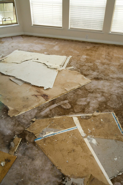 water damage in a house