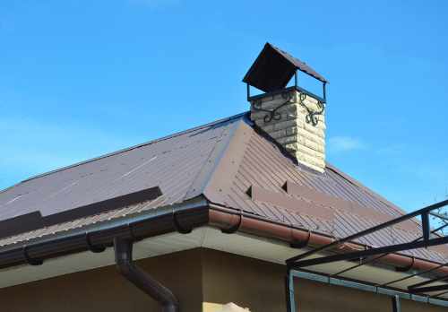 building with brown gutters